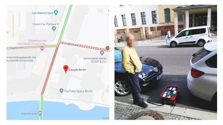 Немецкий художник устроил виртуальные пробки в Google Maps с помощью… заполненной смартфонами тележки