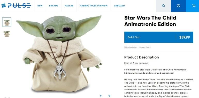 """Hasbro представила куклу-аниматроник Baby Yoda всего за $60, которая умеет двигаться, говорить и """"использовать Силу"""" [видео]"""