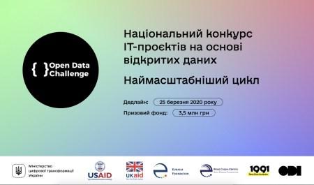 В Украине стартовал набор на конкурс IT-проектов на основе открытых данных Open Data Challenge с призовым фондом 3,5 млн грн
