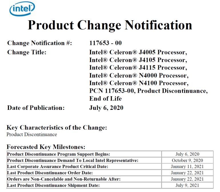 «Атомные» процессоры Intel Gemini Lake готовятся уйти на покой