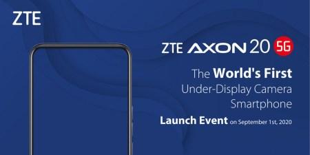 ZTE Axon 20 5G станет первым смартфоном с незаметной подэкранной камерой — его представят 1 сентября