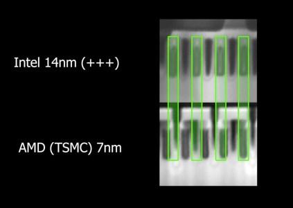 Чьи нанометры лучше: под электронным микроскопом сравнили 14-нм техпроцесс Intel с 7-нм техпроцессом TSMC