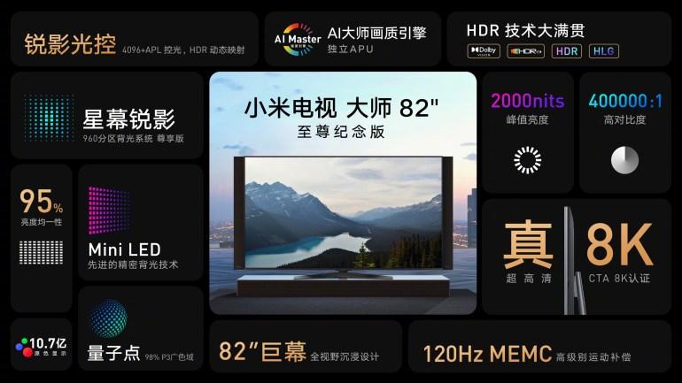 Xiaomi анонсировала два 82-дюймовых телевизора с HDMI 2.1 и разрешением до 8K