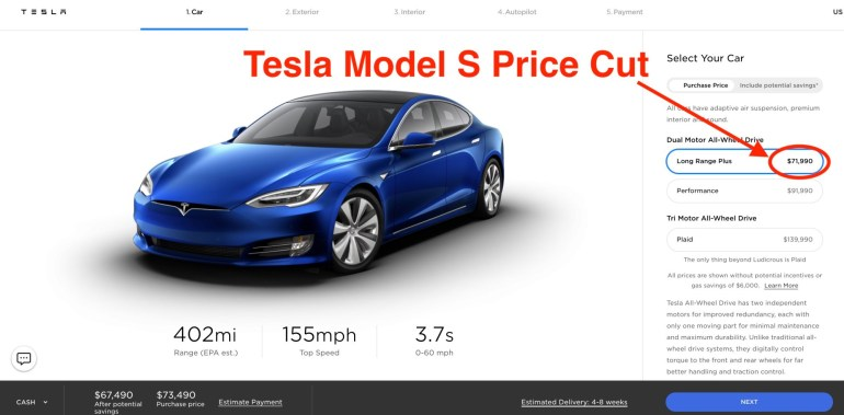 «Почти даром». Илон Маск снизил цену Tesla Model S до $69 420