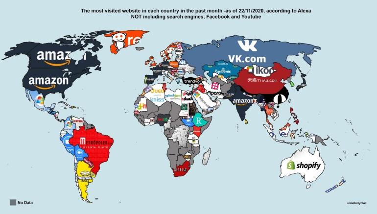 Maps on The Web: Самый популярный сайт в Украине - Wikipedia, в США - Amazon, а в ЮАР - Netflix (и другие страны мира)