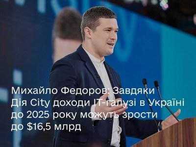 Мінцифри: Завдяки «Дія City» доходи IT-галузі в Україні до 2025 року можуть зрости до $16,5 млрд