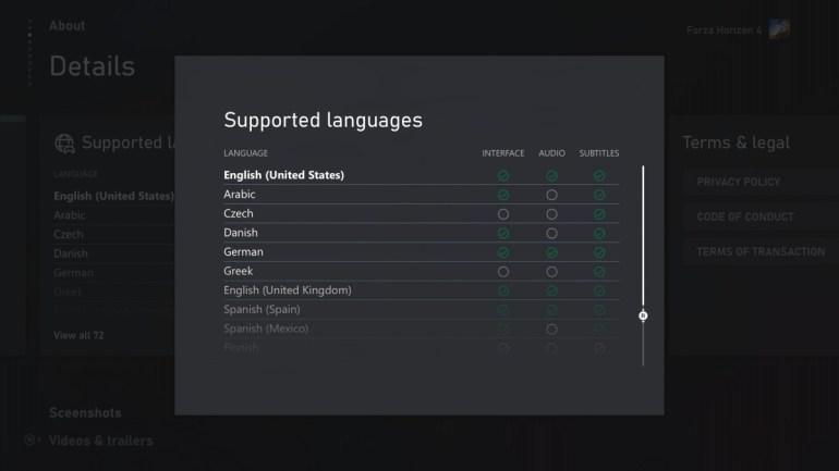 Microsoft наконец начала публиковать в Microsoft Store информацию о поддерживаемых игрой языках