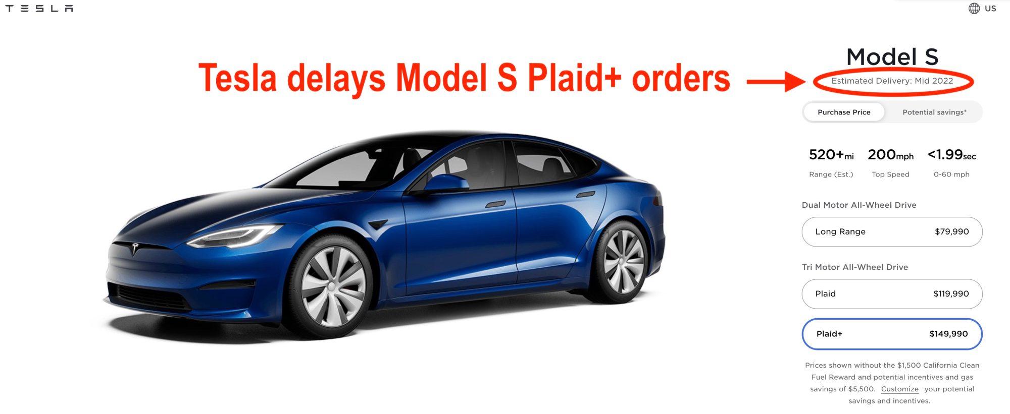 Топовая Tesla Model S Plaid+ подорожала на 10 000 долларов (теперь она стоит от 149 990 долларов), а первые поставки запланированы на середину 2022 года - ITC.ua