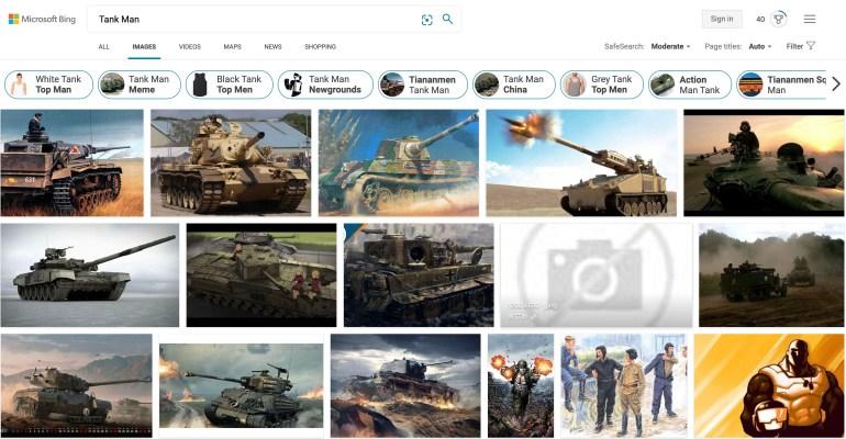 Microsoft говорит, что изображения по запросу «Tank Man» исчезли из поисковика Bing из-за человеческой ошибки