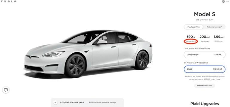 Tesla сократила дальность хода новейшей дальнобойной Model S Long Range на 7 миль — до 405 миль (650 км) по оценке EPA