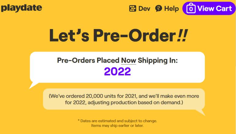 Компания Panic продала 20,000 экземпляров мобильной ретро-консоли Playdate всего за 20 минут (это весь доступный на 2021 год объем)