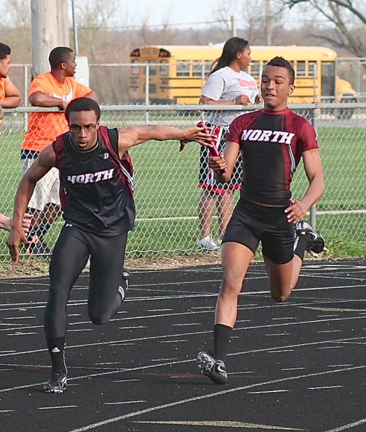 DeVaughn on the right ran on our record-breaking FS 4x1 and 4x2 relay teams. Jared Samms on the left is also a good football player.