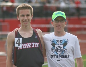 Coach Derks with promising freshman Jack Sebok who set our Fr 3200 record, running 10:12