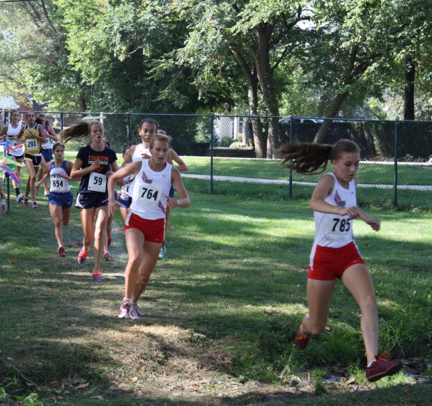 Palatine runner Kelly O'Cock (785) leaps the creek, followed closely by teammate Madi Berg (764). Girls varsity race, Hinsdale Hornet/Red Devil Invite 9-7-2013. Photo by Karen Cox, Palatine, IL