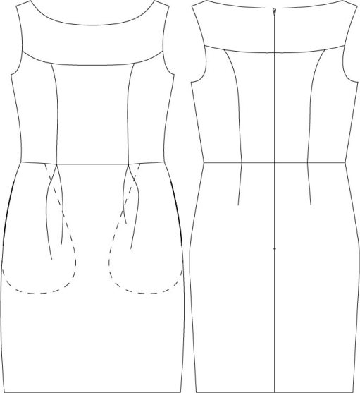 Marbella Dress PDF Sewing Pattern Line Drawing