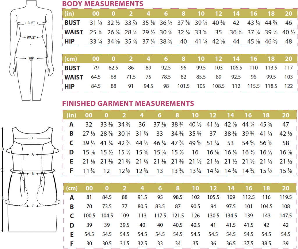 Marbella Body & Finished Garment Measurements