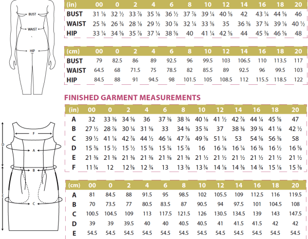 Marbella Body and Finished Garment Measurements