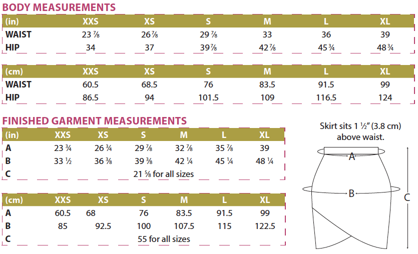 Lindy Petal Skirt Body and Finished Garment Measurements
