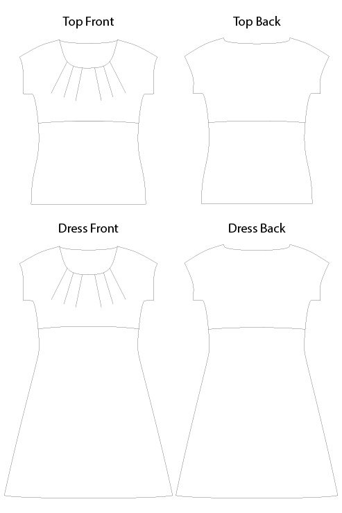 Itch to Stitch Kathryn Top & Dress PDF Sewing Pattern Line Drawing