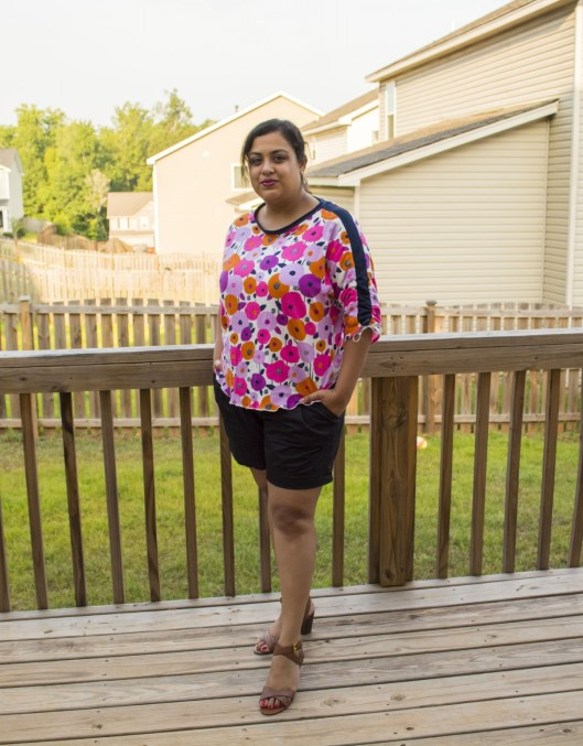Sneha in her Carey Top - PDF Sewing Pattern