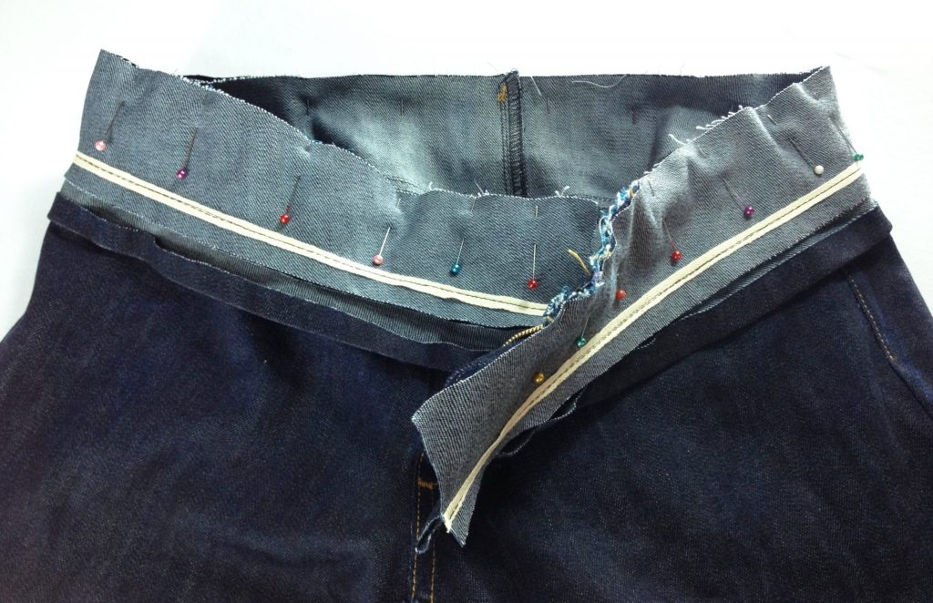 Liana Stretch Jeans Sewalong Day 9 Pin waistband to jeans