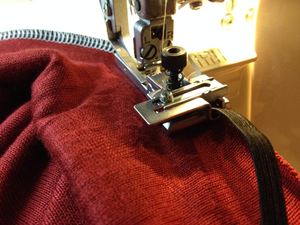 Elastic/Fishing Line Insertion Foot on Serger