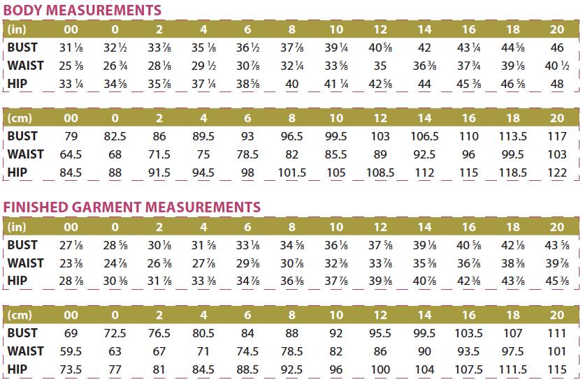 Hepburn Turtleneck Body and Finished Garment Measurements