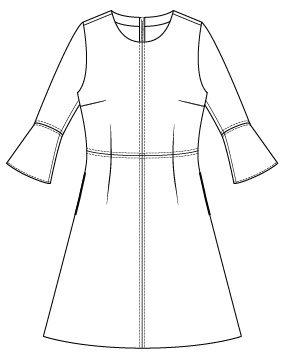Itch to Stitch Sirena Dress PDF Sewing Pattern Sleeve Flounce Option - Front