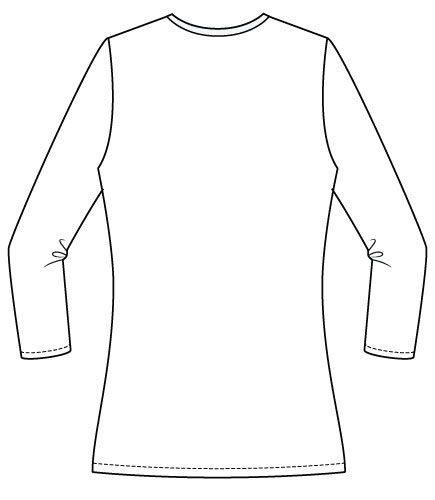 Arenal Top PDF Sewing Pattern Regular Hem Option Back Line Drawing