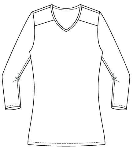 Arenal Top PDF Sewing Pattern Regular Hem Option Front Line Drawing
