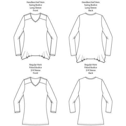 Arenal Top PDF Sewing Pattern Line Drawings