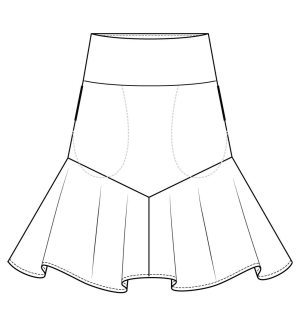 Itch to Stitch Vientiane Skirt Line Drawing Front In-seam Pocket Option