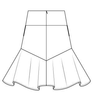 Itch to Stitch Vientiane Skirt Line Drawing Back In-seam Pocket Option