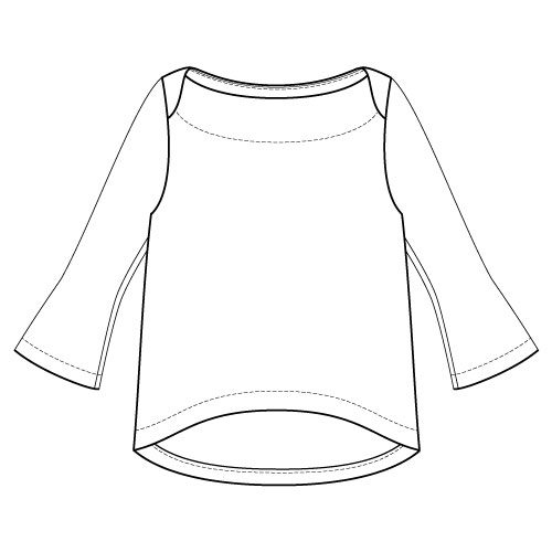 Newport Top Sewing Pattern Flute Sleeve Option - Front