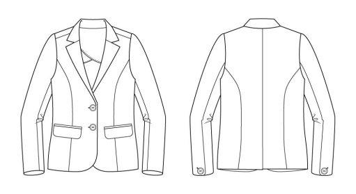 Itch to Stitch La Paz Jacket Sewing Pattern Line Drawing