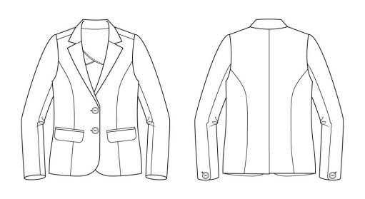 Itch to Stitch La Paz Jacket Sewing Pattern Line Drawing
