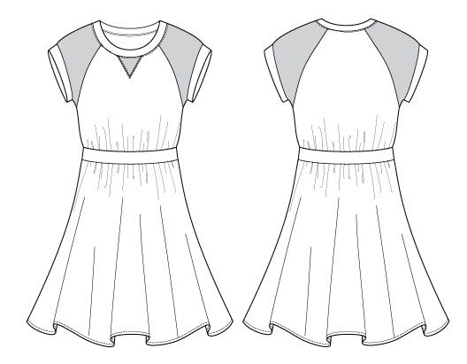 Itch to Stitch Oceanside Dress Line Drawings