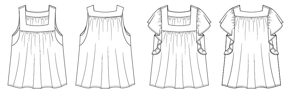Itch to Stitch Chirripo Top PDF Sewing Pattern Line Drawing