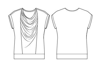 Itch to Stitch Plitvice Top PDF Sewing Pattern Line Drawing