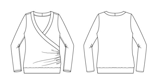 Itch to Stitch Medellin Top PDF Sewing Pattern Line Drawings