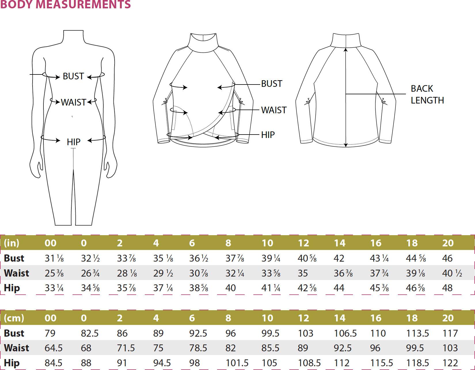 Orono Top PDF Sewing Pattern Body Measurements