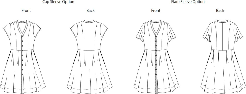 Itch to Stitch Kalispell Dress PDF Sewing Pattern Line Drawing