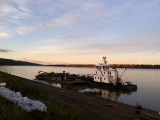 Barge delivering fuel