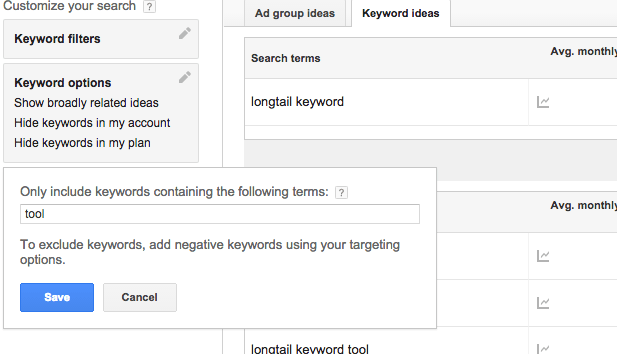 tips on using the Google keyword tool