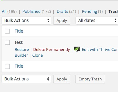 Delete WordPress blog posts