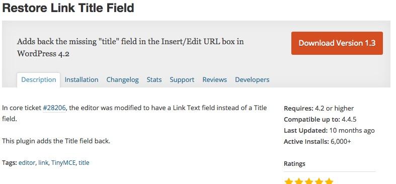 WordPress  Restore Link Title Field