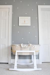 white-polka-dot-wall-decals-and-grey-wall-paint-for-nursery