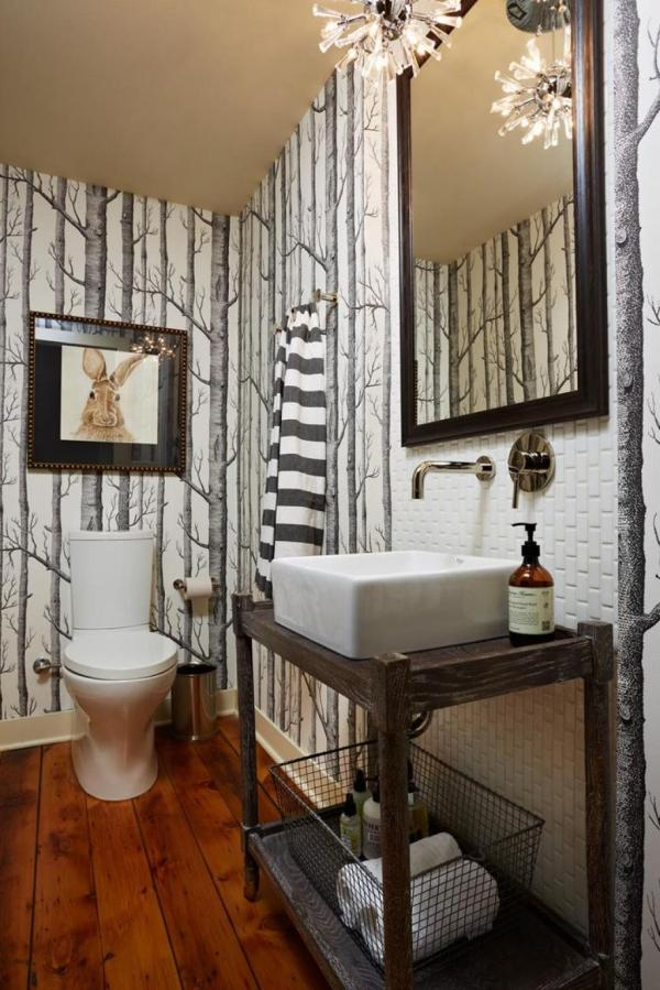 Dry Wood Forest Bathroom Wallpaper Ideas Small Modern