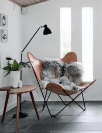 Modern Corner Reading Butterfly Chair with Small Black ...