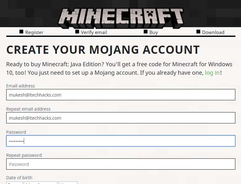 how to create a account in minecraft